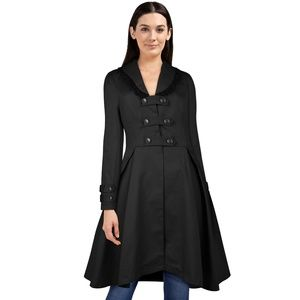 Jackets & Blazers - Lace Trim Collar Buckle Trench Coat Jacket